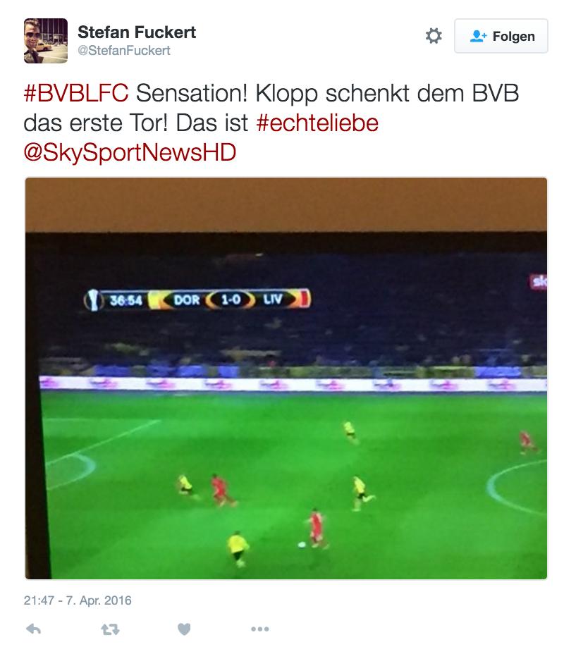 Klopp BVB vs. Liverpool Twitter Picture
