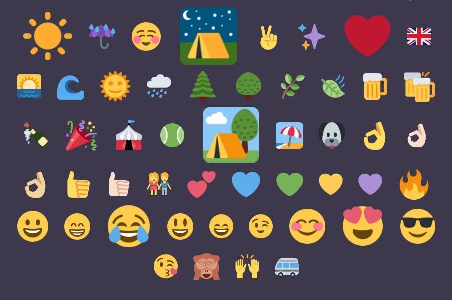 social insights: camping emoji cloud