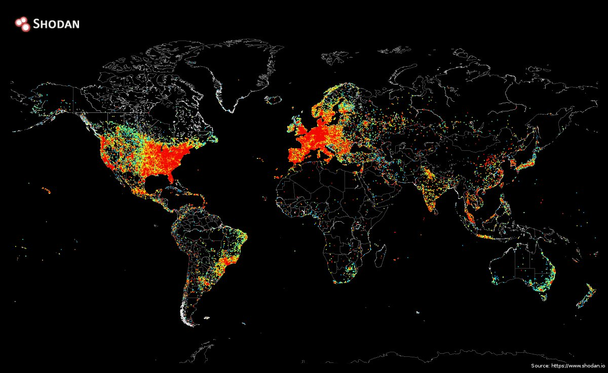 Internet connectivity map of the world