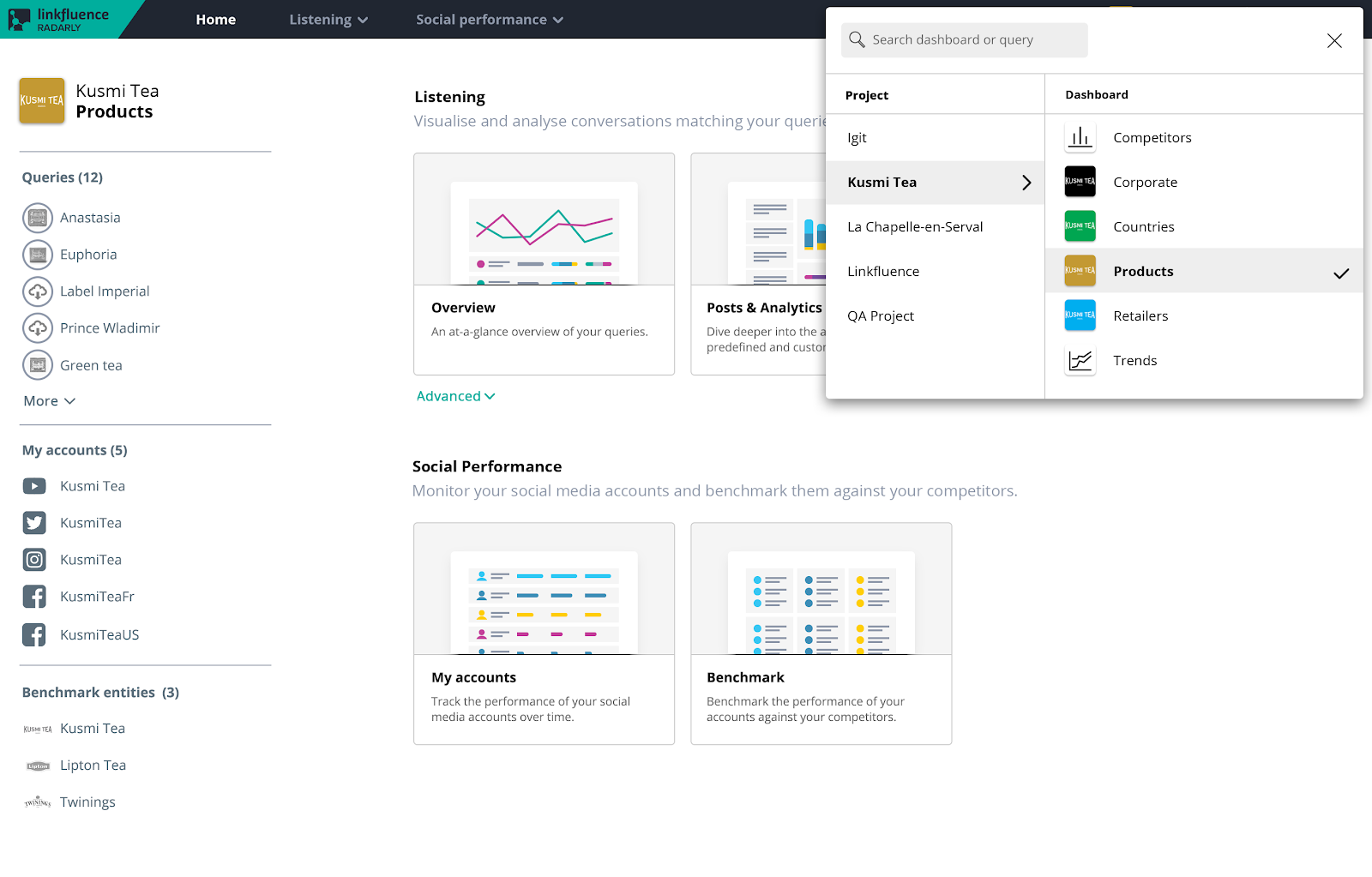 Radarly UX redesign new drop-down panel to switch between projects and dashboards